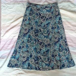 Laura Scott Blue Paisley Skirt